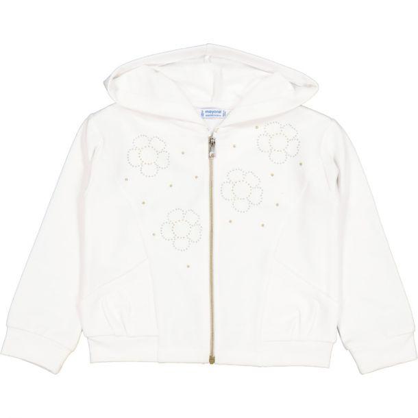 Girls White Jersey Zip Up