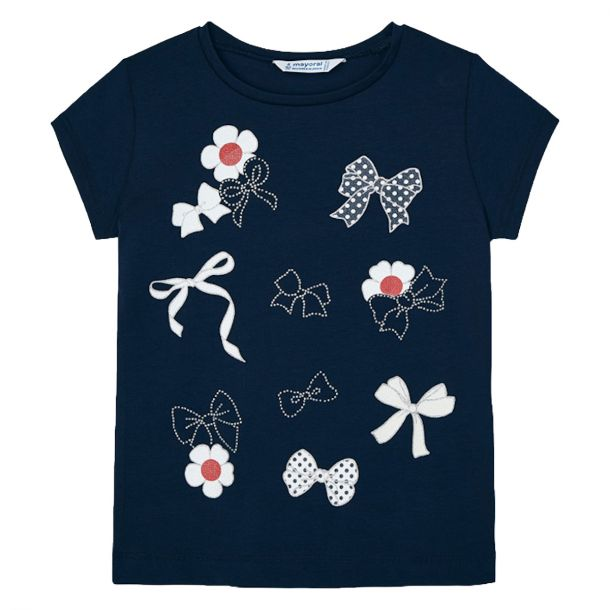 Girls Navy Bow T-shirt