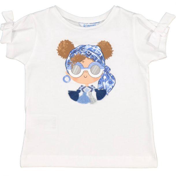 Girls White Girl Printed T-shirt