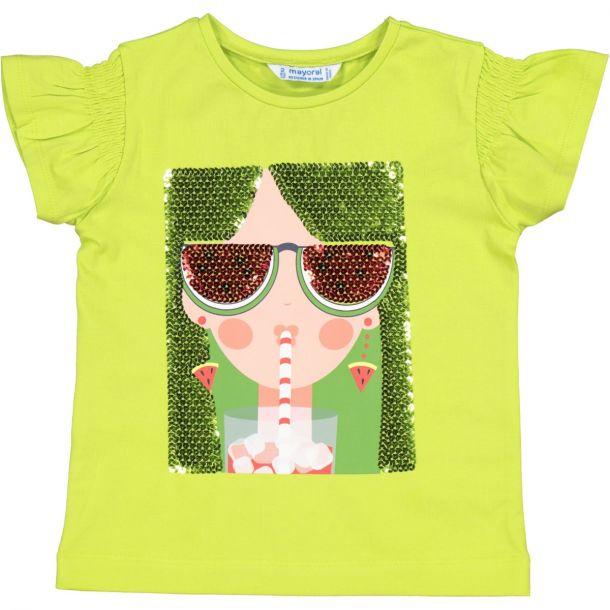 Girls Green Printed T-shirt