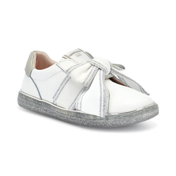 Girls Leather Bow Trainer
