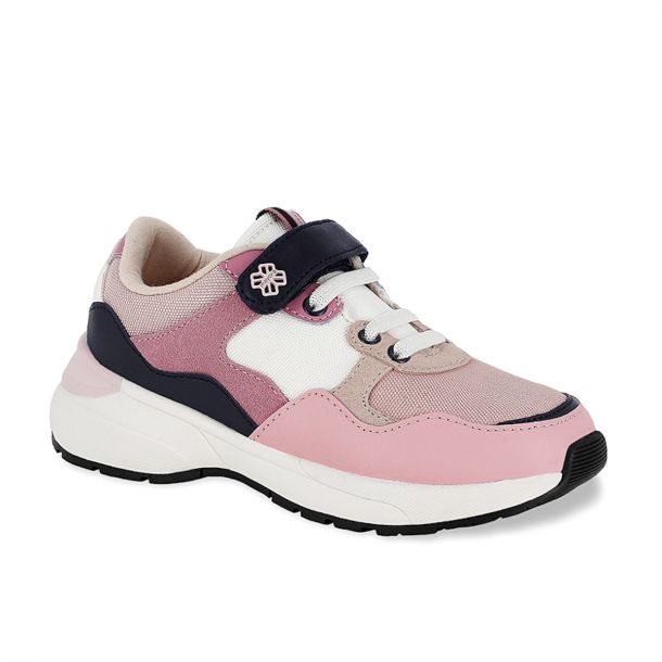Girls Pink Leather Trainers