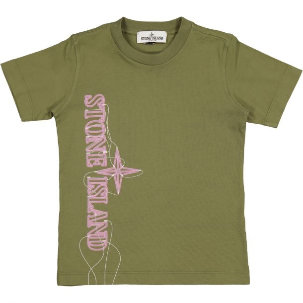 Boys Khaki Branded T-shirt
