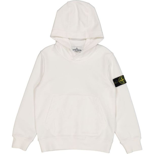 Boys White Hooded Sweat with Badge