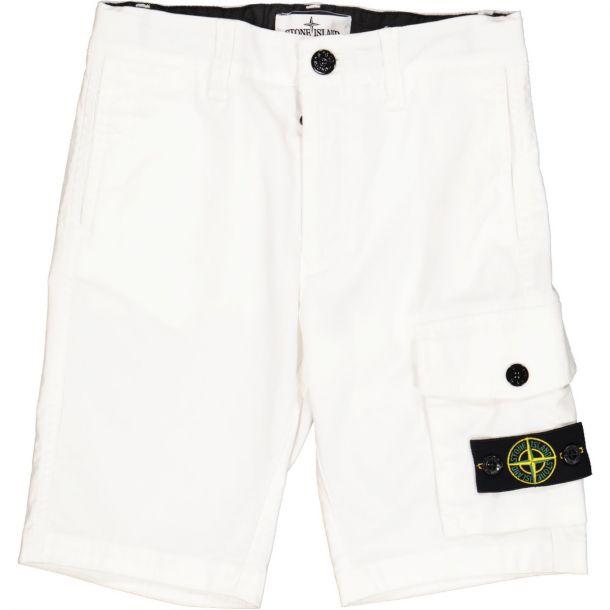 Boys White Cotton Shorts