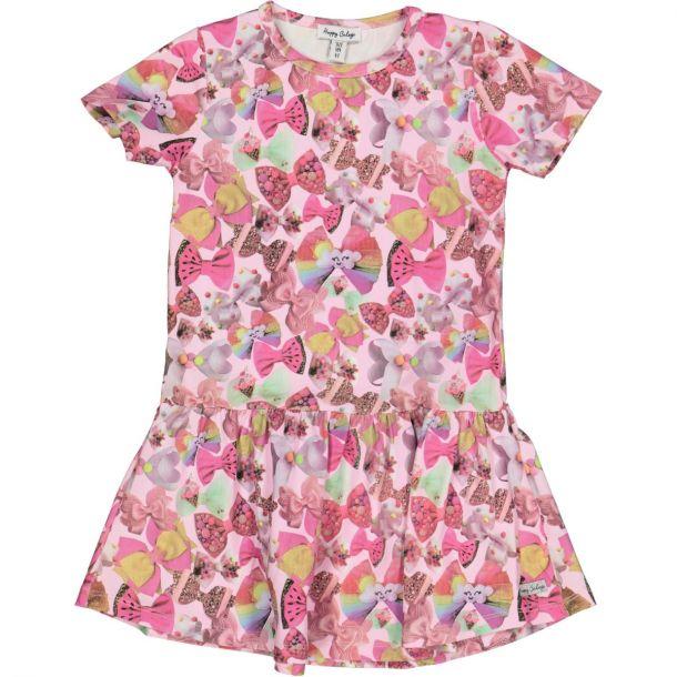 Girls Bow Pink Jersey Dress