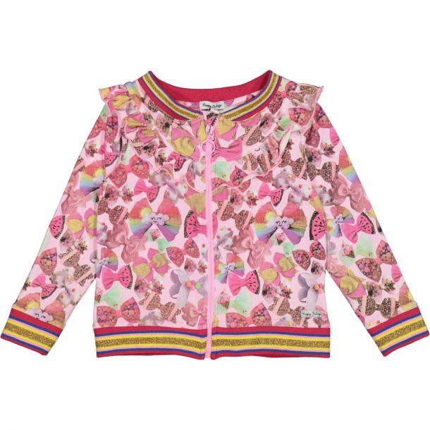 Girls Bow Print Jersey Zip Up