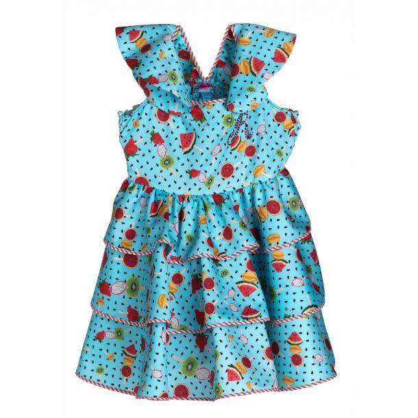 Girls Hay Blue Print Dress
