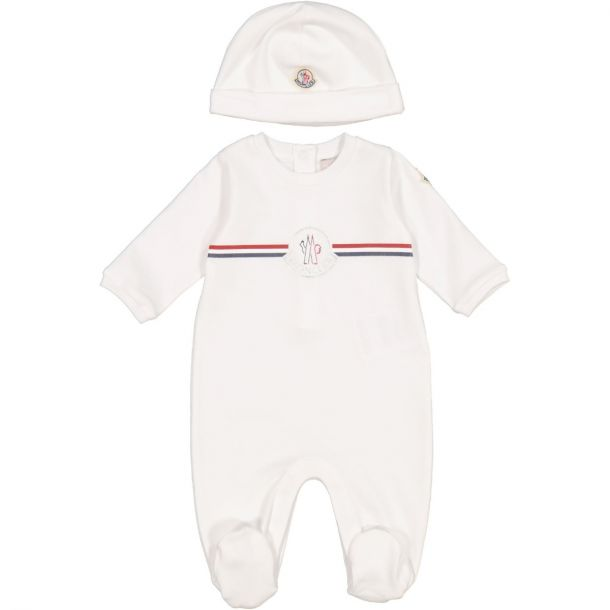 Baby White Romper & Hat Set