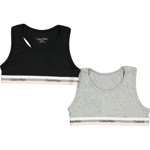 Girls Pack Of Two Bralettes Grey & Black
