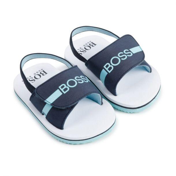 Boys Navy Logo Sandals