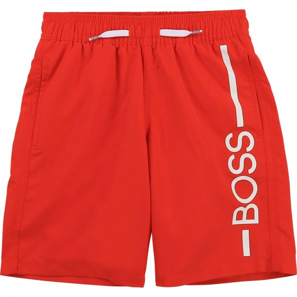 Boys Red Boss Swim Shorts