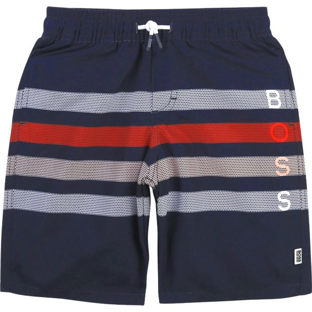 Boys Navy Stripe Swim Shorts