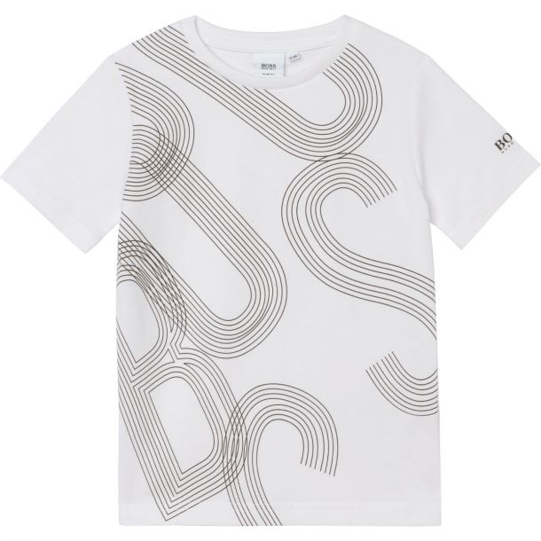Boys White Cotton Logo T-shirt