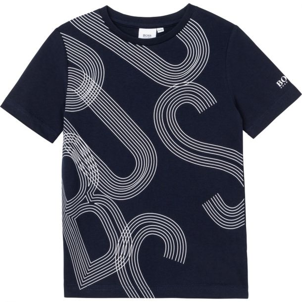 Boys Navy Cotton Logo T-shirt