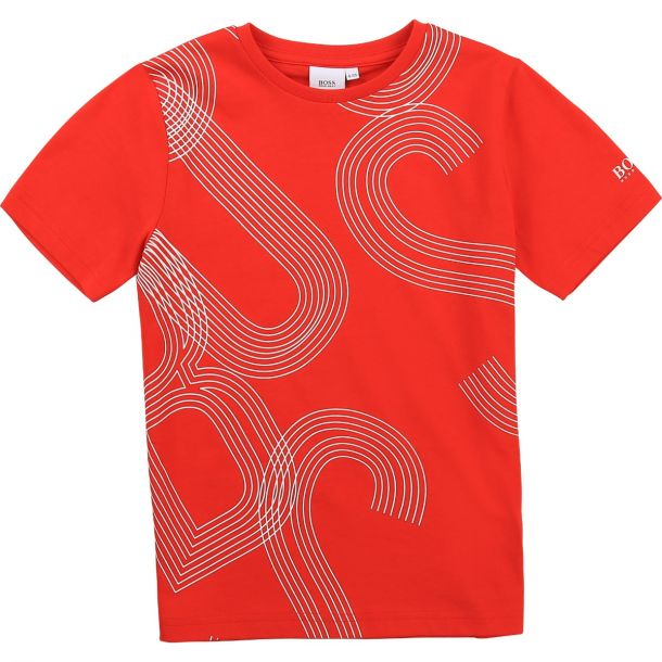 Boys Red Cotton Logo T-shirt