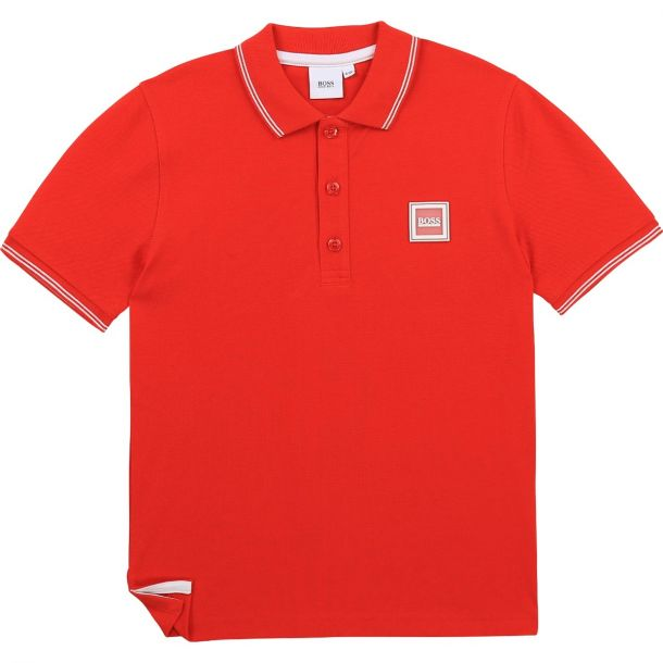 Boys Red Logo Polo Top