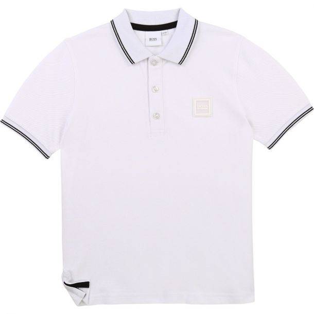 Boys White Logo Polo Top