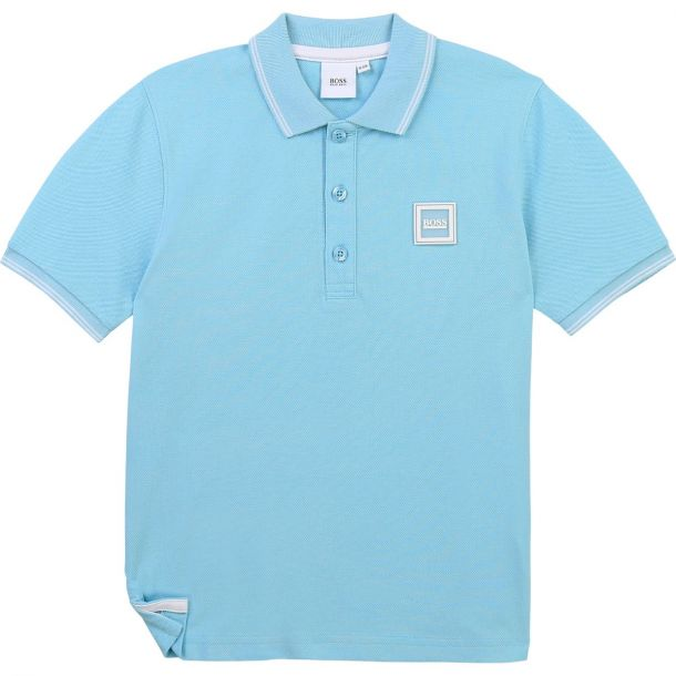 Boys Pale Blue Logo Polo Top