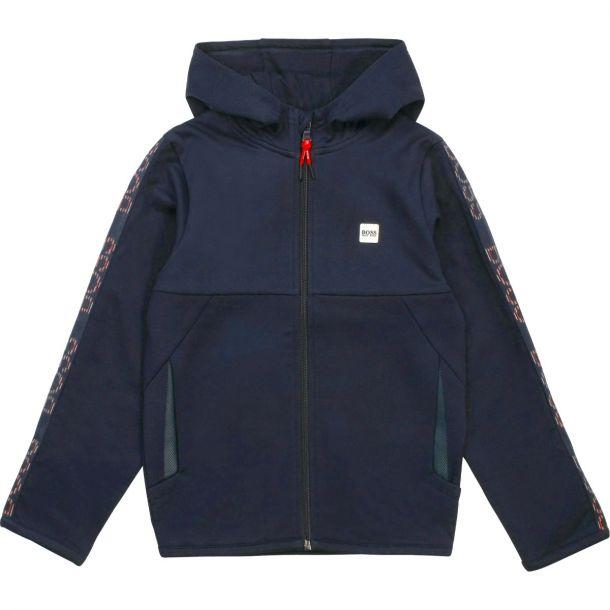 Boys Navy Branded Zip Up