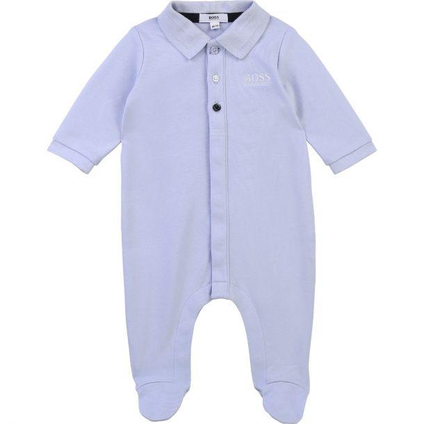 Baby Boys Blue Logo Romper