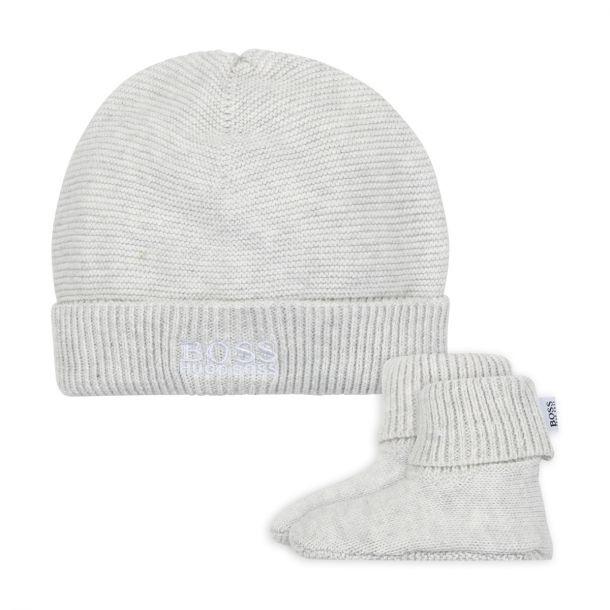 Baby Boys Grey Hat & Booties