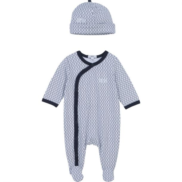 Baby Boys Navy Romper & Hat