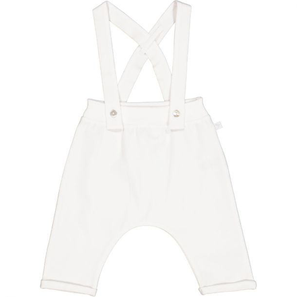 Babies White Jersey Dungarees