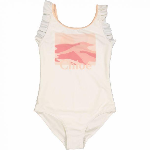 Girls Ivory Logo Swimsuit