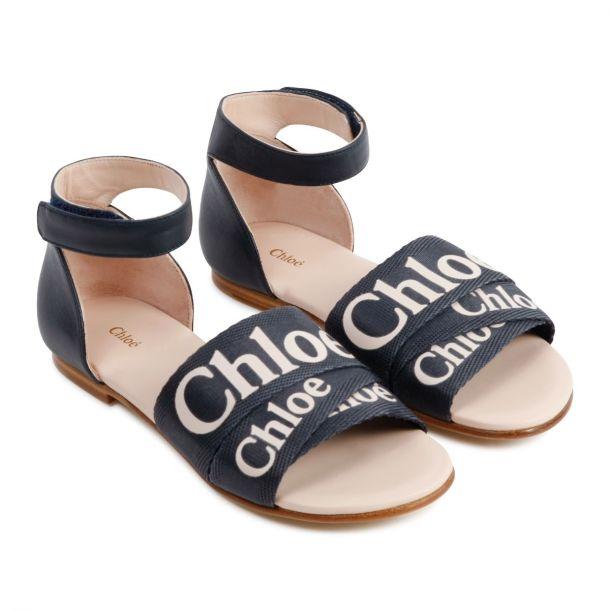 Girls Navy Logo Sandals