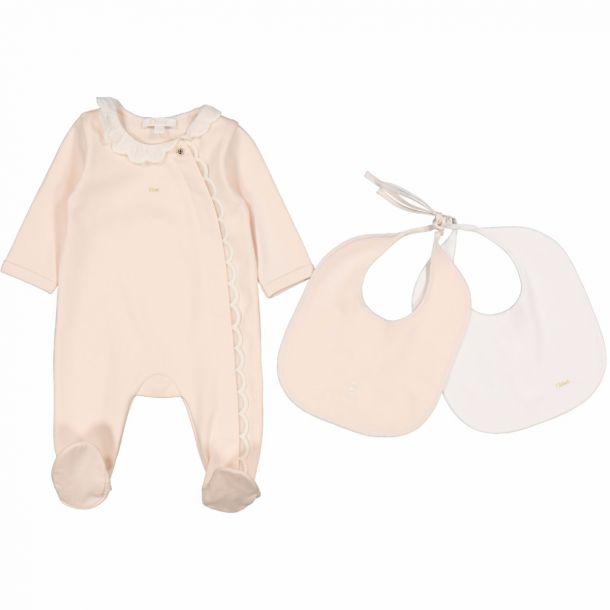 Baby Girls Romper & Bib Set