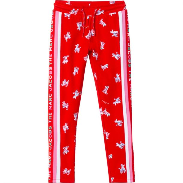 Girls Red Poodle Joggers