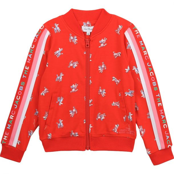 Girls Red Poodle Zip Up