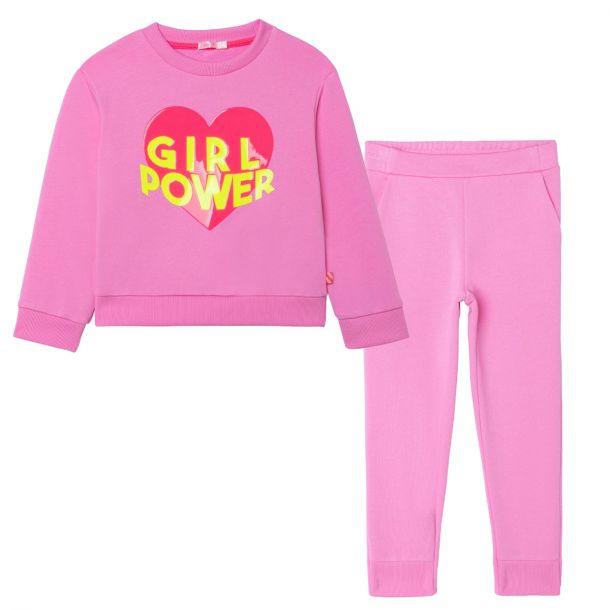 Girls Pink Jersey Tracksuit
