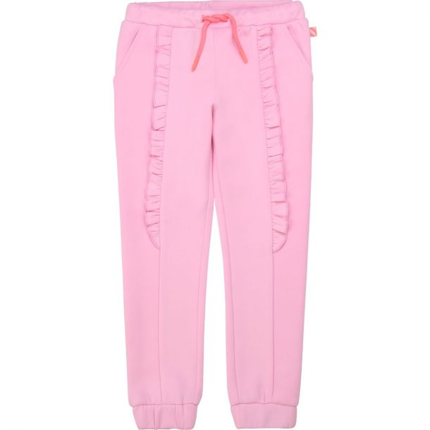 Girls Pink Frill Joggers