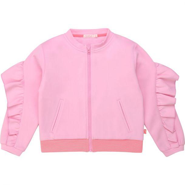 Girls Pink Frill Zip Up