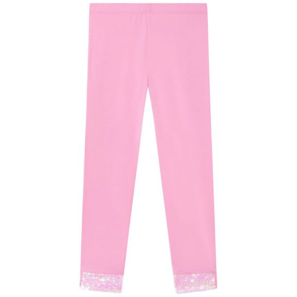 Girls Pink Sequin Trim Legging
