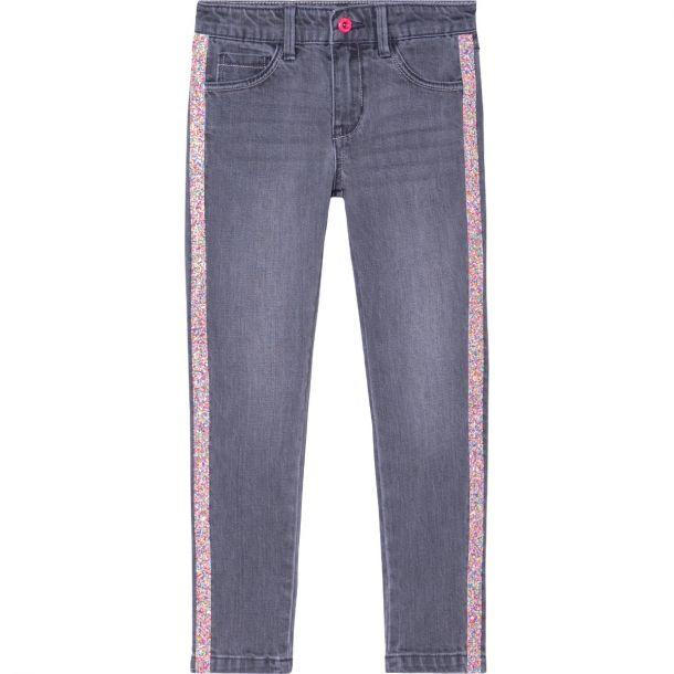 Girls Grey Sparkle Trim Jeans