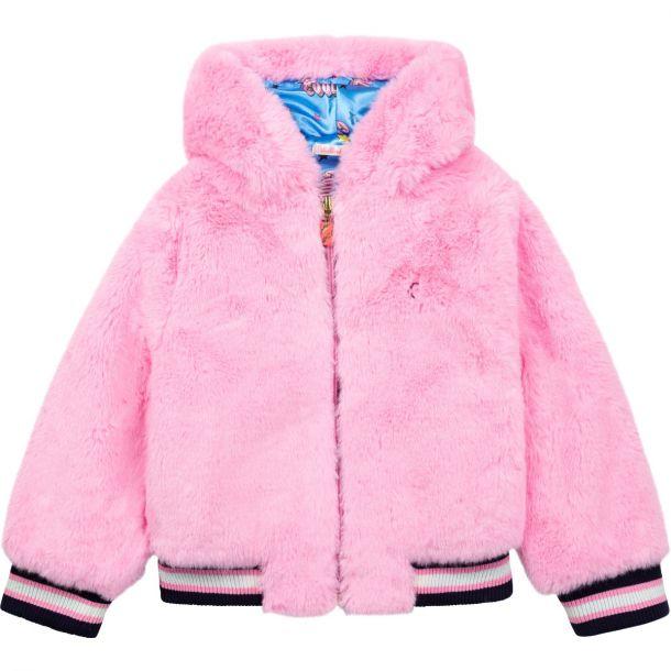 Girls Pink Faux Fur Jacket