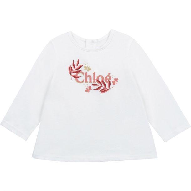 Baby Girls White Cotton T-shir