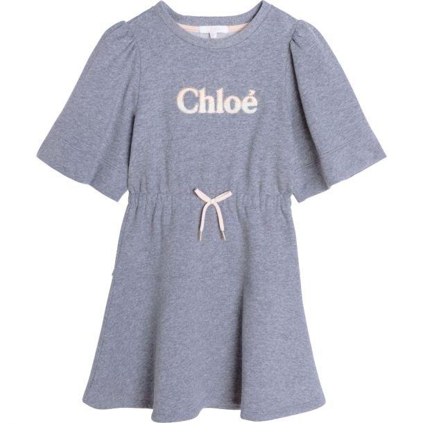 Girls Grey Logo Sweat Dress
