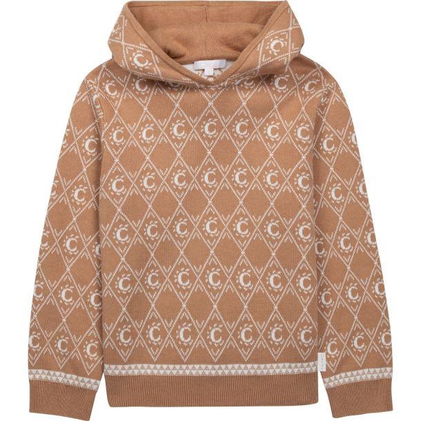 Girls Beige Logo Knit Sweater
