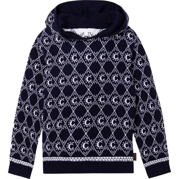 Girls Navy Logo Knit Sweater