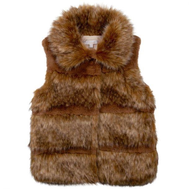 Girls Brown Faux Fur Gilet