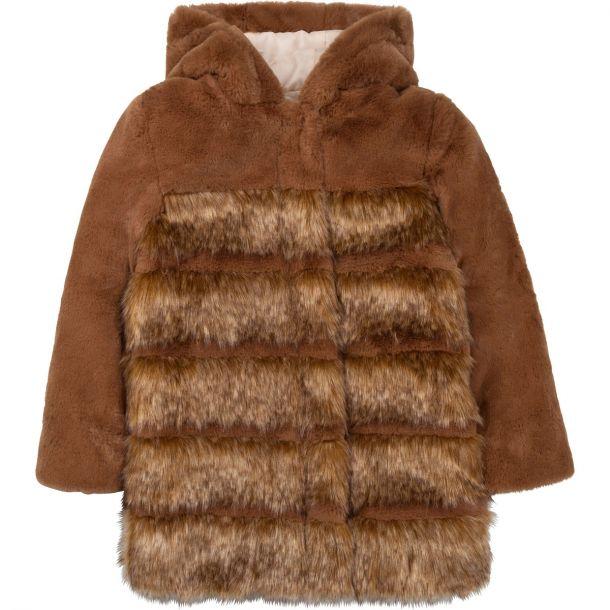 Girls Brown Faux Fur Coat