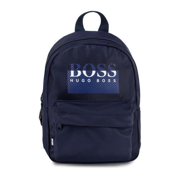 Boys Navy Blue Logo Backpack