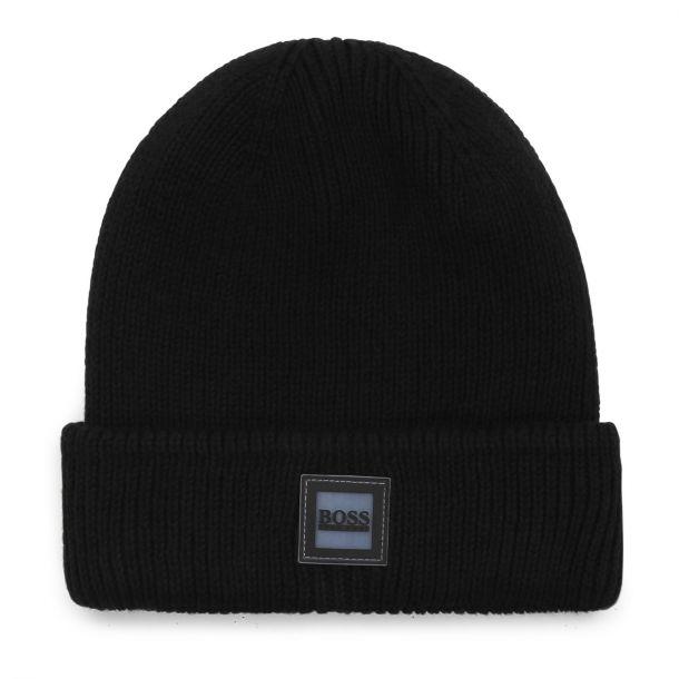 Boys Black Knit Beanie Hat