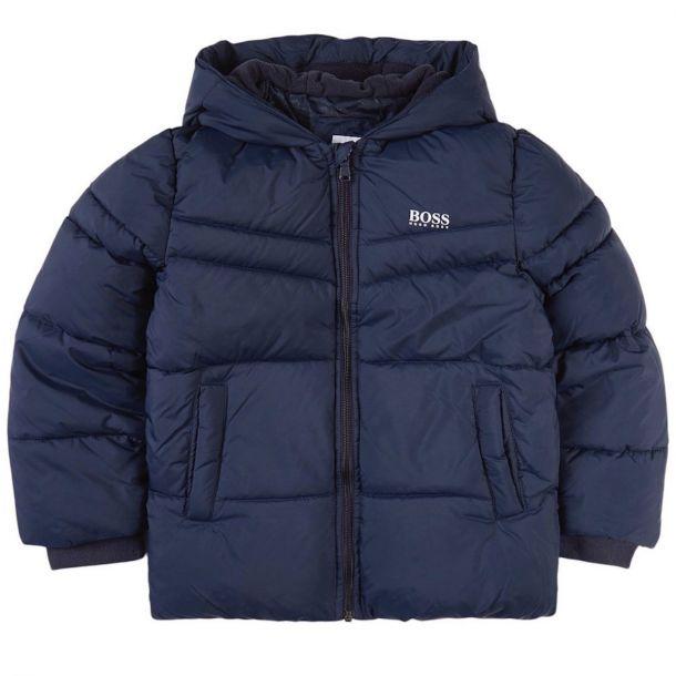 Boys Navy Logo Puffer Jacket