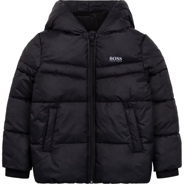 Boys Black Logo Puffer Jacket