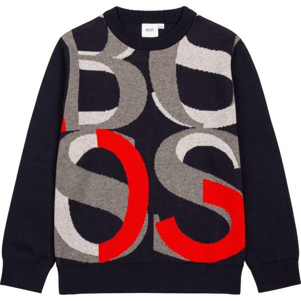 Boys Navy Cotton Logo Knit